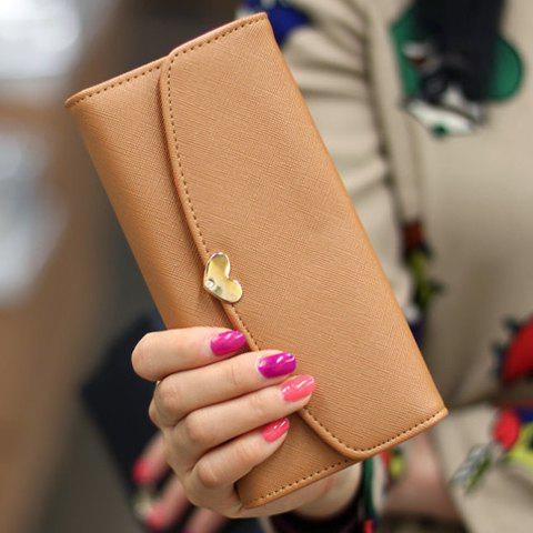 Simple Solid Color and Heart Shape Design Clutch Wallet For Women - EARTHY