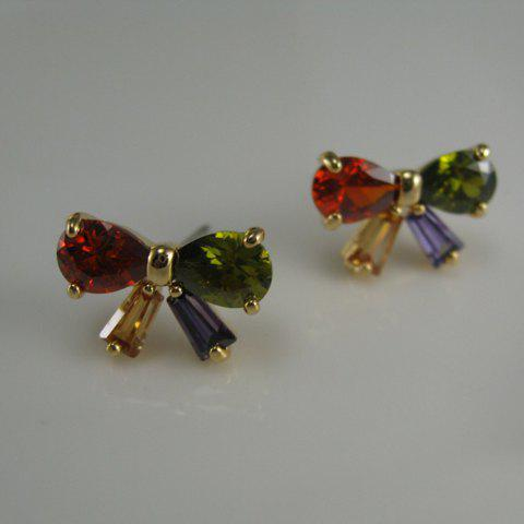 Pair of Sweet Cute Colored Rhinestone Bowknot Earrings For Women - COLORFUL