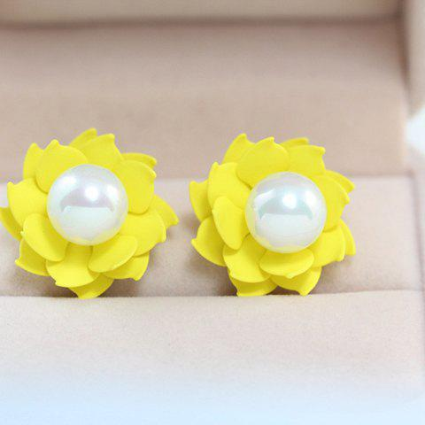 Pair of Sweet Cute Candy Color Floral With Pearl Earrings For Women