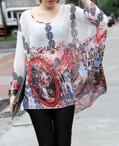 Women's Loose-Fitting Printed Scoop Neck Chiffon Blouse - PINK L