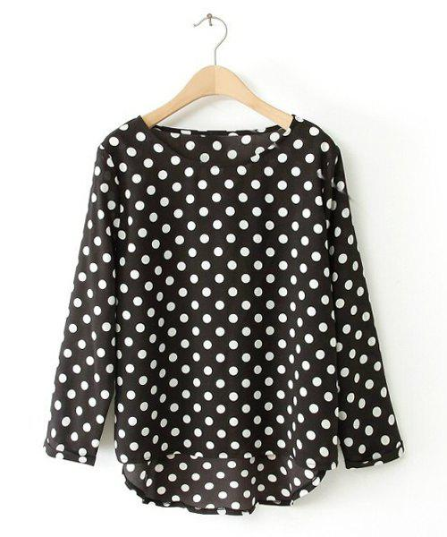 Polka Dot High-low Hem Scoop Collar Long Sleeve Stylish Women's Blouse - BLACK XL