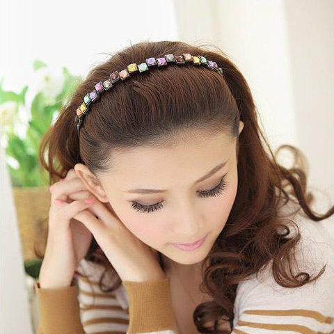 Elegant Colored Square Faux Gem Hairband For Women