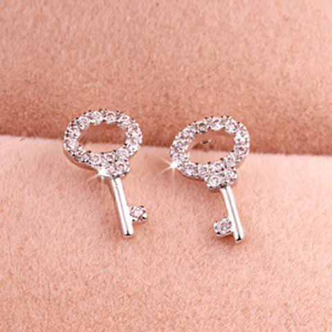 Pair of Delicate Chic Rhinestone Openwork Key Earrings For Women - COLOR ASSORTED