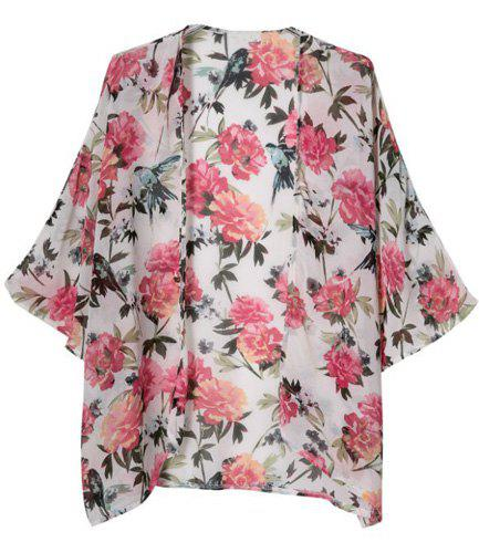Floral Print Fashionable Collarless 3/4 Sleeve Women's Kimono