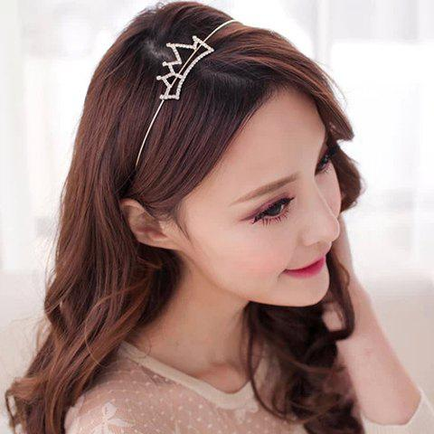 Simple Rhinestoned Openwork Crown Shape Hairband - SILVER WHITE