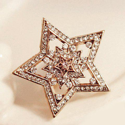 Stylish Chic Rhinestone Openwork Star Ring For Women - COLOR ASSORTED