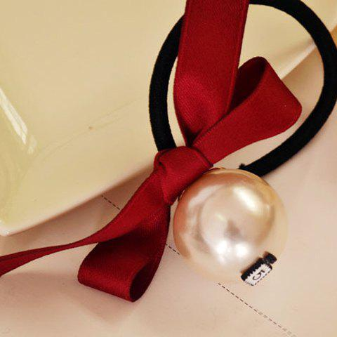 Sweet Cute Pearl Bowknot Decorated Elastic Hair Band For Women - WINE RED