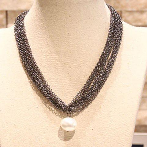 Exaggerated Faux Pearl Pendant Multi-Layered Necklace For Women