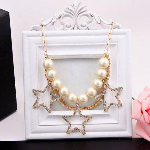 Rhinestone Faux Pearl Openwork Star Pendant Necklace - AS THE PICTURE