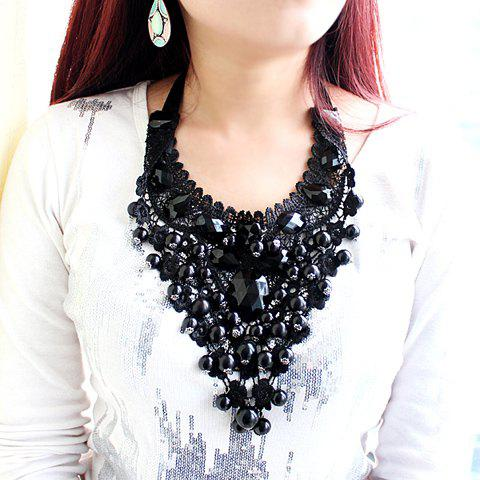 Beads Decorated Openwork Lace Pendant Necklace - AS THE PICTURE