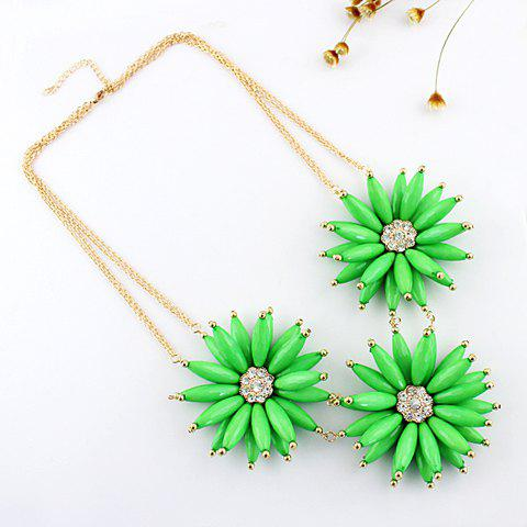 Stylish Rhinestone Decorated Candy Color Chrysanthemum Pendant Necklace For Women   (ONE PIECE)