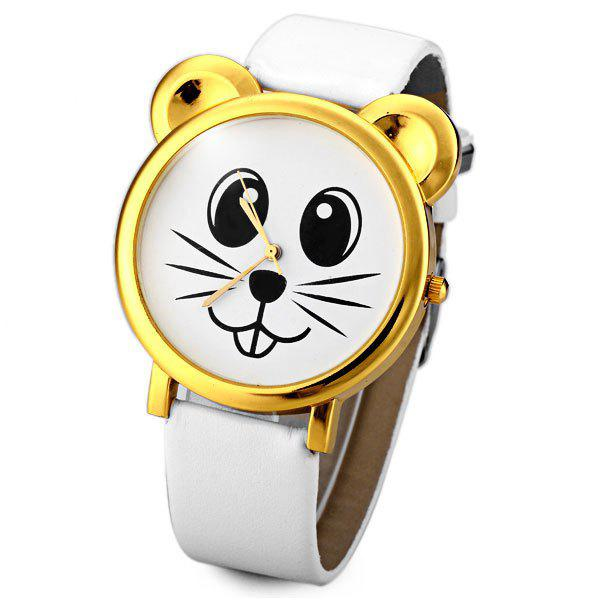 Genuine Quartz Watch with Mouse Analog Indicate and Leather Watchband for Women - WHITE