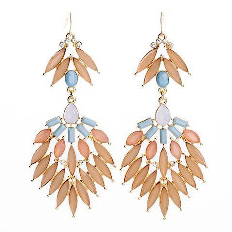 Pair of Brilliant Candy Color Faux Gem Embellished Openwork Leaf Pattern Earrings For Women - PINK