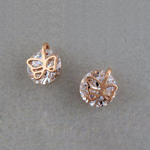 Pair of Sweet Cute Zircon Openwork Butterfly Earrings For Women - CHAMPAGNE GOLD
