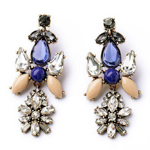 Pair of Delicate Colorful Faux Gem Embellished Flower Shape Pendant Earrings For Women