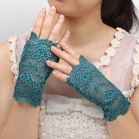Pair of Charming Various Floral Pattern Anti-UV Lace Fingerless Gloves