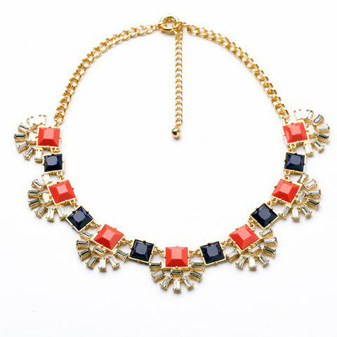 Vintage Multi-Color Rhinestone Decorated Fan Shaped Pendant Necklace For Women - AS THE PICTURE