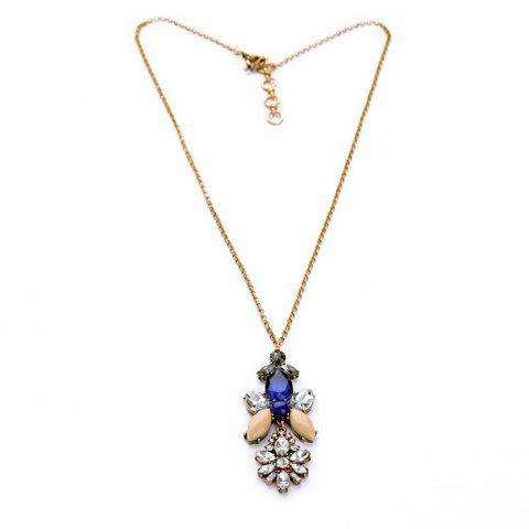 Vintage Simply Designed Rhinestone Decorated Flower Pattern Pendant Necklace For Women - AS THE PICTURE