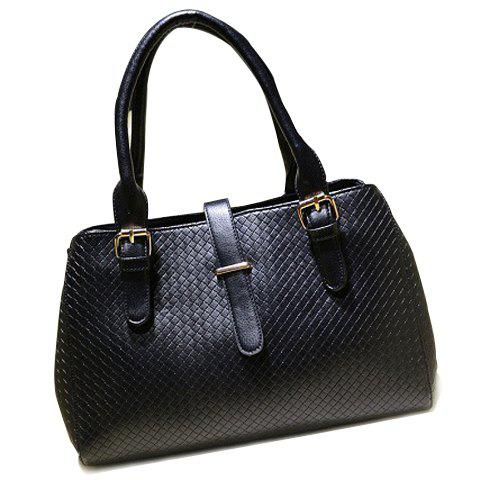 Elegant Solid Color and Checked Design Tote Bag For Women - BLACK