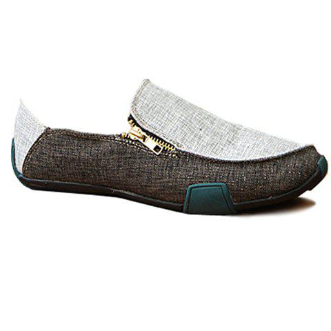 Casual Color Block and Zipper Design Loafers For Men - BLACK 40
