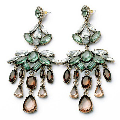 Pair of Delicate Colorful Rhinestone Embellished Leaf Pattern Pendant Earrings For Women