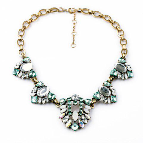 Vintage Rhinestone Embellished Openwork Leaf Pattern Pendant Necklace For Women - AS THE PICTURE