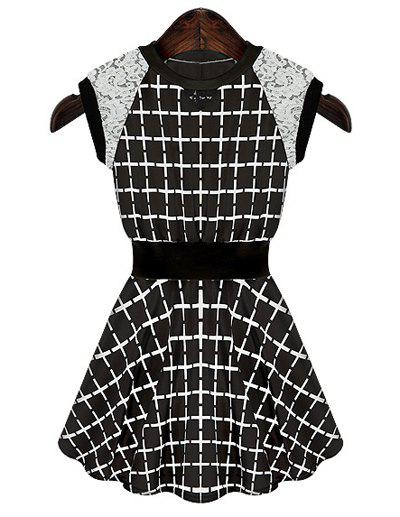 Checked Print Lace Splicing Fashionable Round Collar Sleeveless Women's Dress - BLACK L