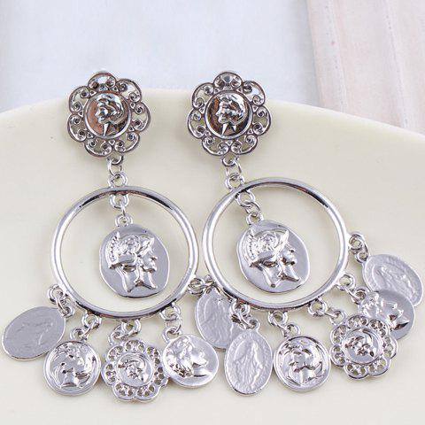 Pair of Stylish Fashion Figure Decorated Round Pendant Earrings For Women - WHITE GOLDEN