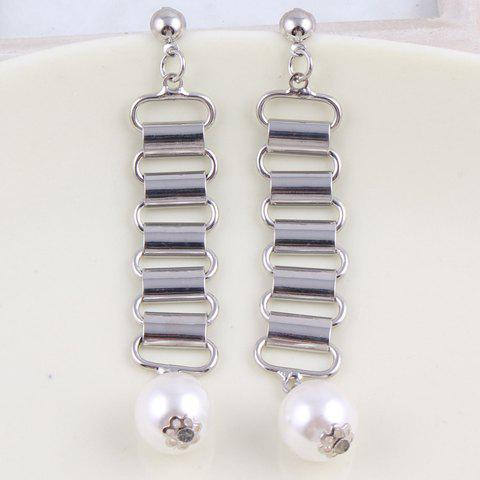 Pair of Stylish Chic Pearl Openwork Rectangle Earrings For Women - WHITE GOLDEN