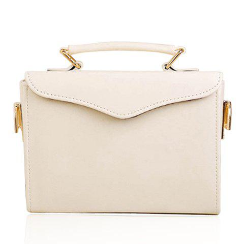 Casual Style Solid Color and PU Leather Design Tote Bag For Women - WHITE