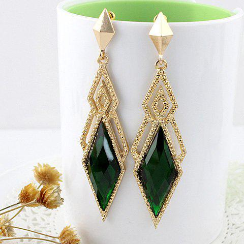 Pair of Exquisite Faux Gem Decorated Openwork Rhombus Pendant Earrings For Women