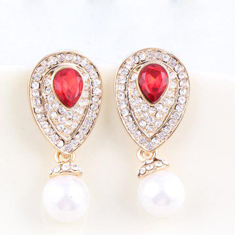 Pair of Characteristic Faux Pearl Pendant Diamante Water Drop Shape Earrings For Women - COLOR ASSORTED