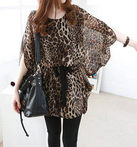 Stylish Scoop Neck Dolman Sleeve Leopard Print Blouse For Women - LEOPARD ONE SIZE