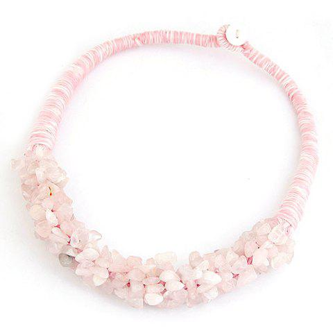 Stylish Pink Stone Beads Decorated Necklace For Women - PINK