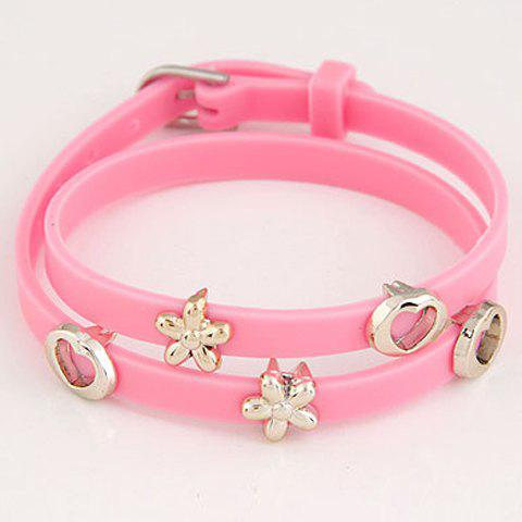 Openwork Heart Flower Decorated Layered Bracelet - COLOR ASSORTED