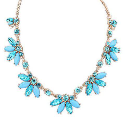 Delicate Resin Beads Pendant Floral Necklace For Women - BLUE