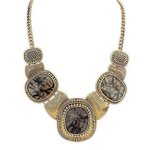 Retro Chic Gem Inlaid Round Pendant Necklace For Women - GRAY
