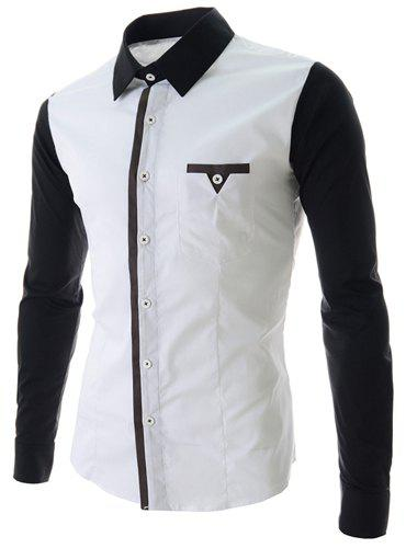 Fashion Style Turn-down Collar Color Block Splicing Slimming Personality Pocket Embellished Long Sleeves Men's Polyester Shirt - WHITE L