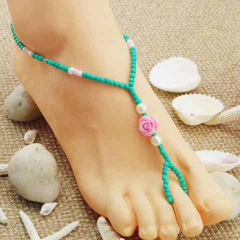 Fashion Flower Decorated Candy Color Beads Barefoot Sandal For Women     (ONE PIECE) - TURQUOISE