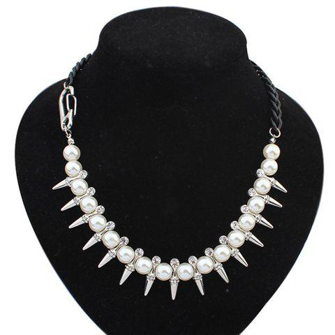 Chic Pearl Rhinestone Rivet Necklace For Women