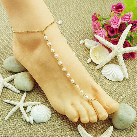 Fashion Faux Pearl Embellished Simple Design Barefoot Sandal For Women - GOLDEN