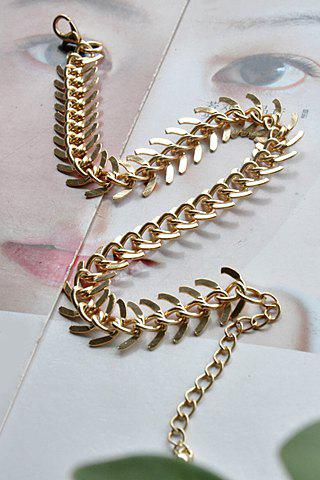 Fashion Simple Design Fishbone Pattern Anklet - GOLDEN