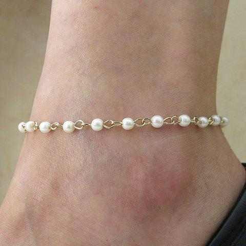 Fashion Simple Design Faux Pearl Decorated Anklet For Women - COLOR ASSORTED