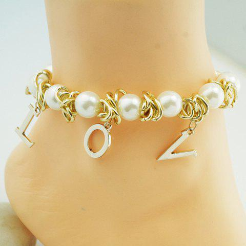 Fashion Letter Pendant Faux Pearl Embellished Anklet For Women - GOLDEN