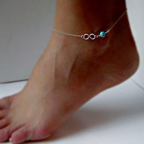 8 Shaped Faux Turquoise Bead Anklet - SILVER