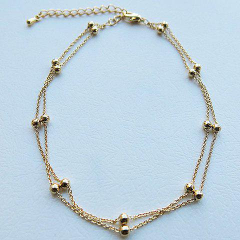 Beads Decorated Double Layers Anklet - GOLDEN