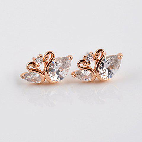 Pair of Delicate Zircon Decorated Lovely Swan Pattern Stud Earrings For Women - CHAMPAGNE GOLD