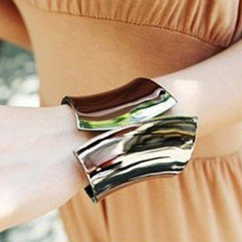 Thick Metal Alloy Cuff Bracelet - COLOR ASSORTED
