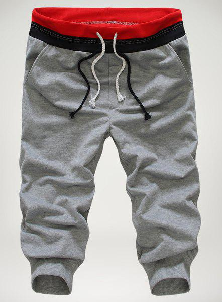 Loose-Fitting Personality Double Lace-Up Design Hit Color Waist Slimming Elastic Cuffs Narrow Feet Men's Cotton Blend Cropped Pants - GRAY M