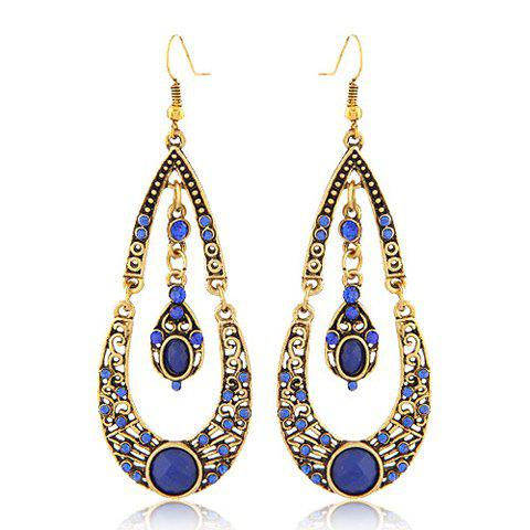 Pair of Rhinestone Water Drop Pendant Earrings - RANDOM COLOR PATTERN